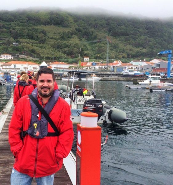 Man in red coat in the Azores.