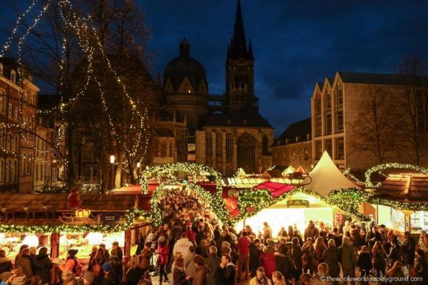 Christmas market at night in Aachen, Germany.