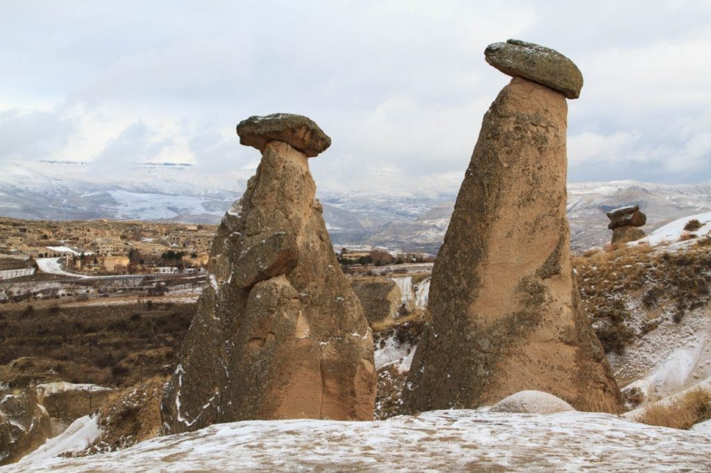 Stone pinnacles in Cappadocia, Turkey.