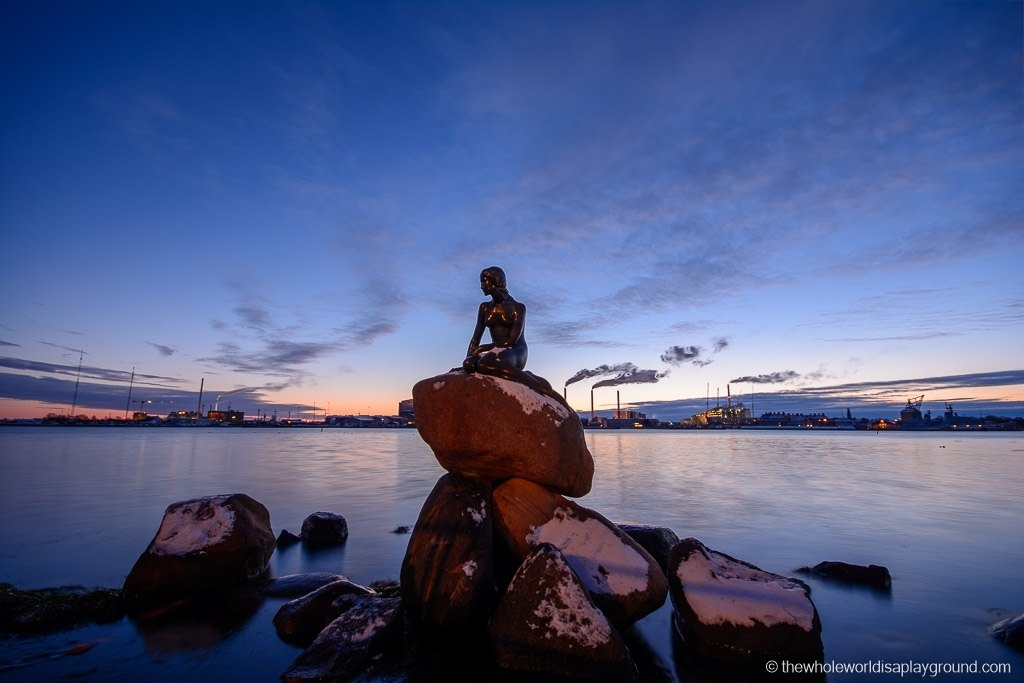 The Little Mermaid statue in Copenhage in winter.