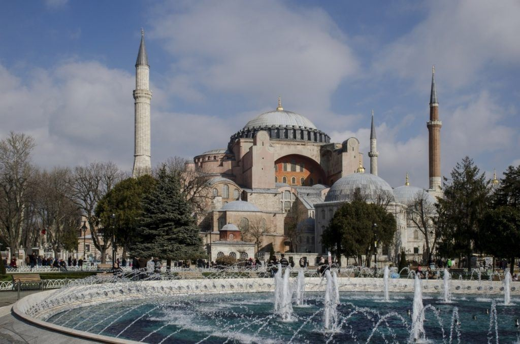 Hagia Sofia and fountain in Instanbul, Turkey.