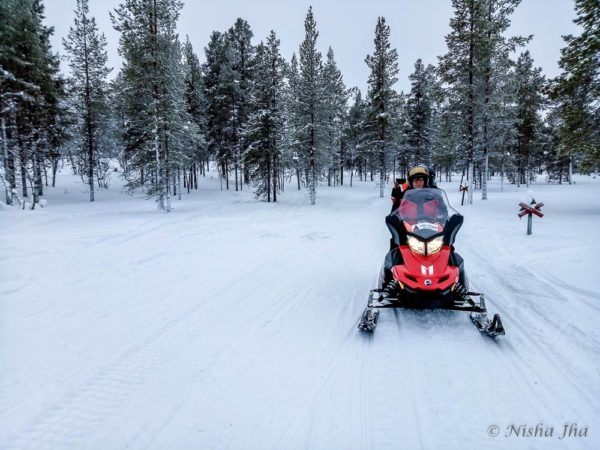 Snowmobile in Lapland, Finland.