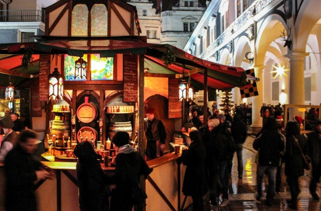 Germany in December is all about this Christmas market stall selling mulled wine in Dresden.