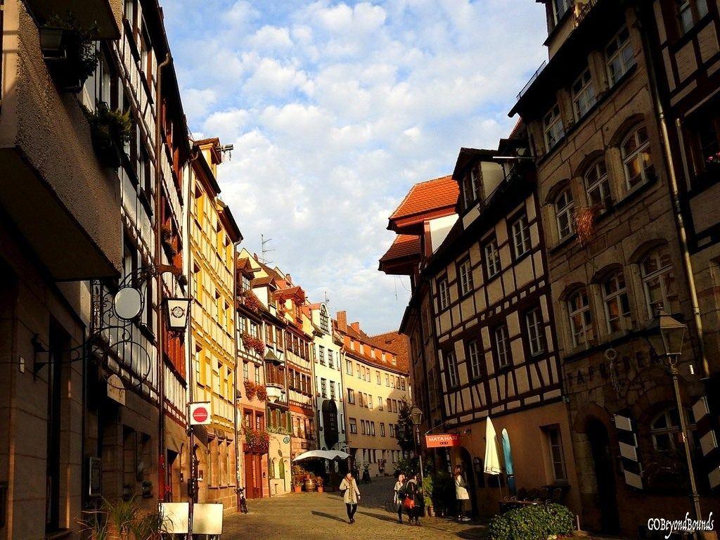 Nuremberg old town city scene.