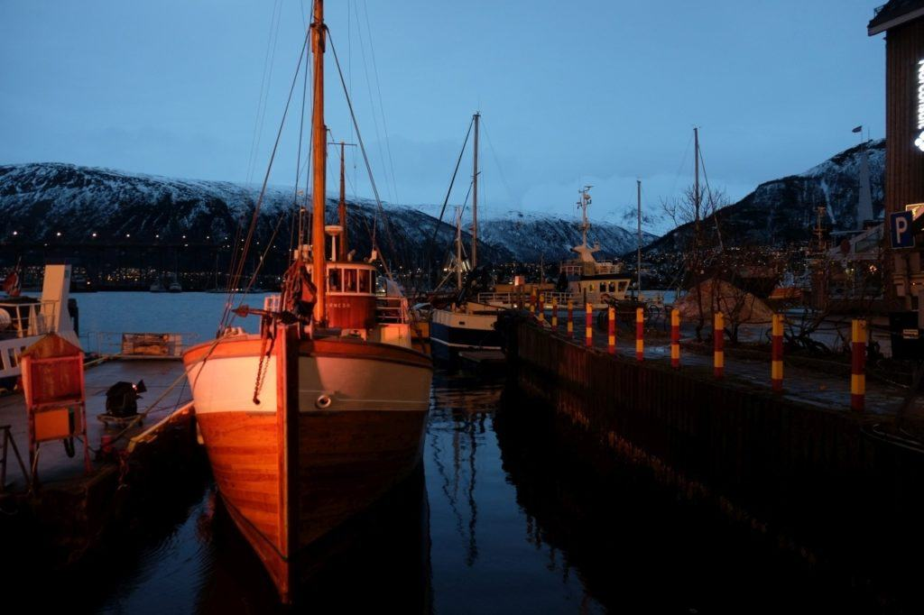 Wooden boats in Tromso's port, Norway.