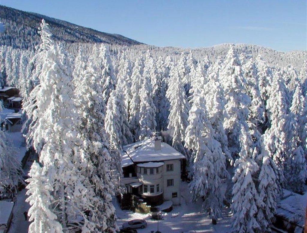 Borovets, Bulgaria winter scene with house and trees.