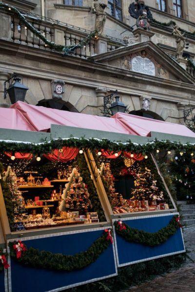 Christmas market stalls.