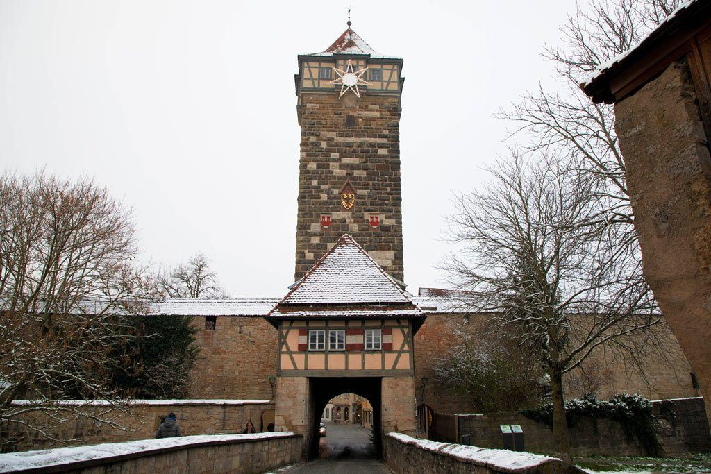 Rothenburg's Galentor with snow.