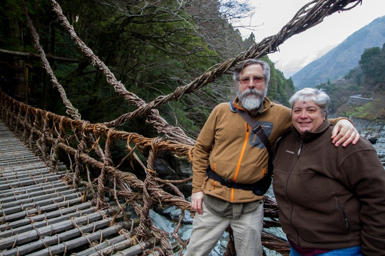 Jim and Corinne on a rope bridge in Japan.