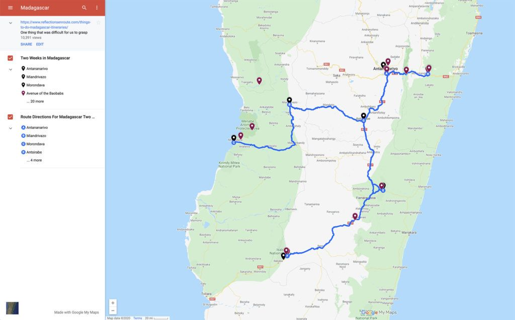 Madagascar tourist map for a two week itinerary.