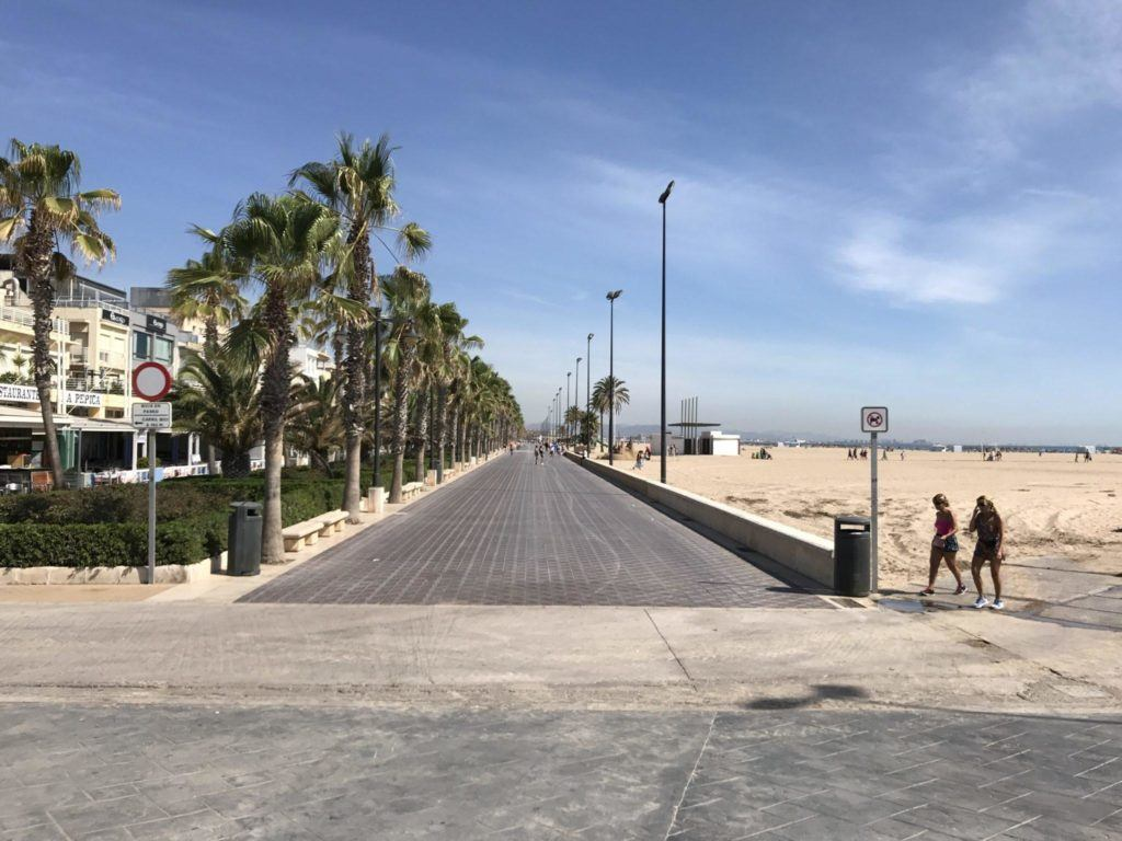 A beach, walkway, and people in Valencia.