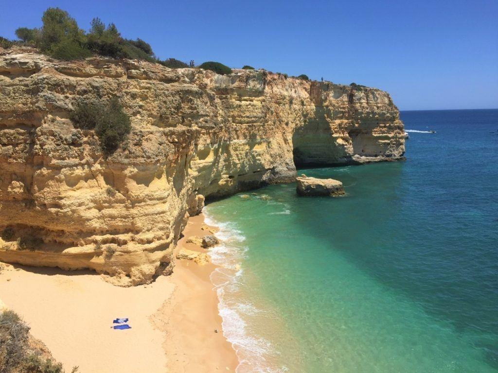 Algarve rock wall and beach.