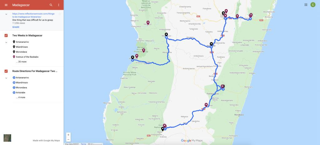 Map of Madagascar, including things to do and a 2 week itinerary.