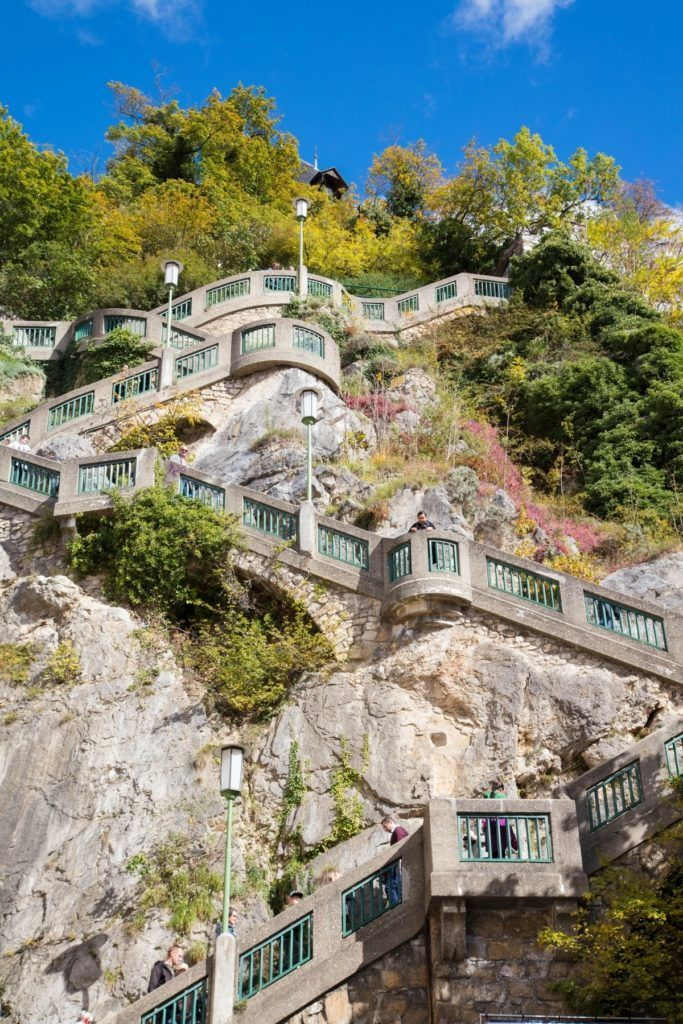 These are the many stairs descending the Schlossberg, my pick for top sight in Graz!