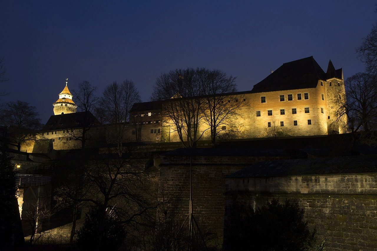 Nuremberg city walls at night.
