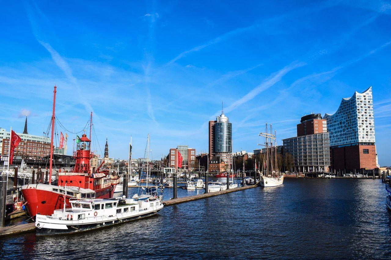 Boats in the Hamburg harbor.