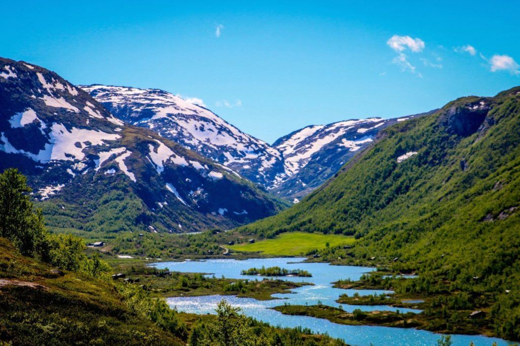 Norwegian fjord in the summer time.