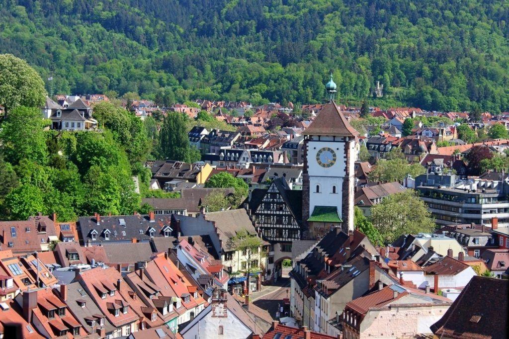 Bird's eye view Freiburg in the Black Forest.