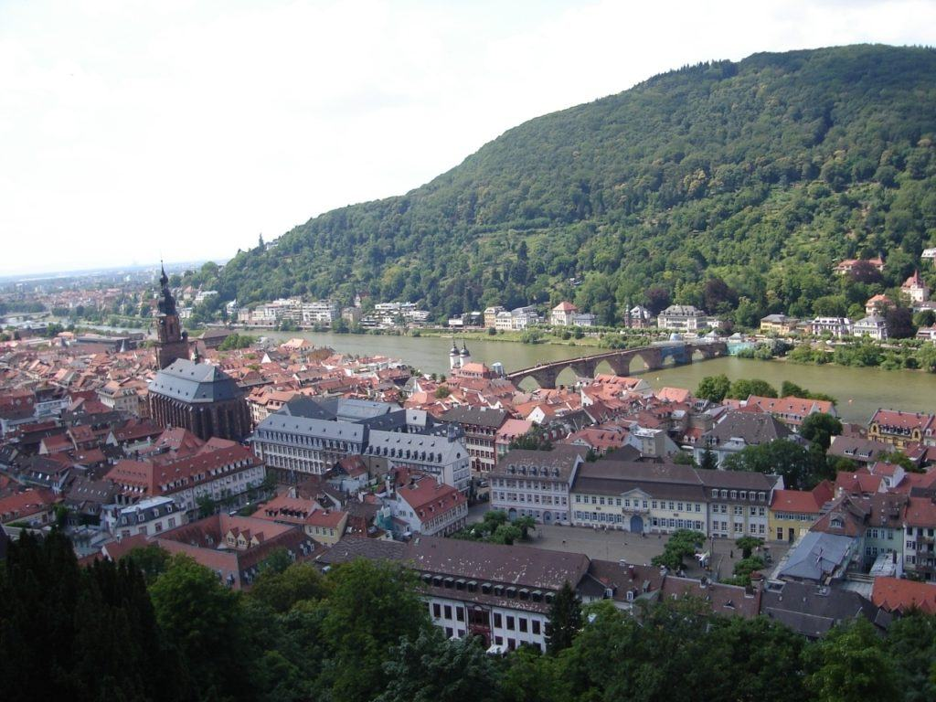 View of the river and the town below the Heidelberg castle.