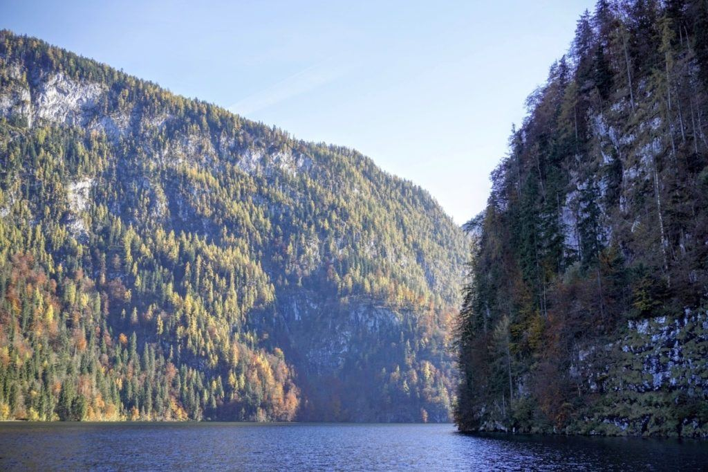 The sparkling, emerald green waters of the Koenigssee.