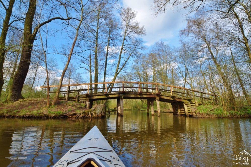 Wooden bridge in Spreewald.