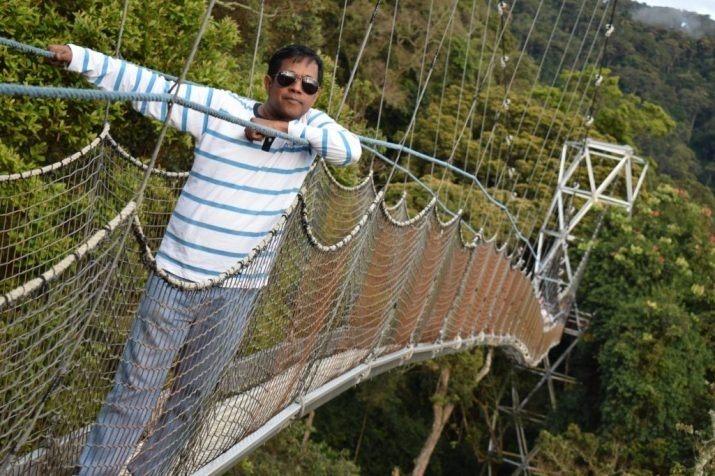 Vyjay on a suspension bridge.