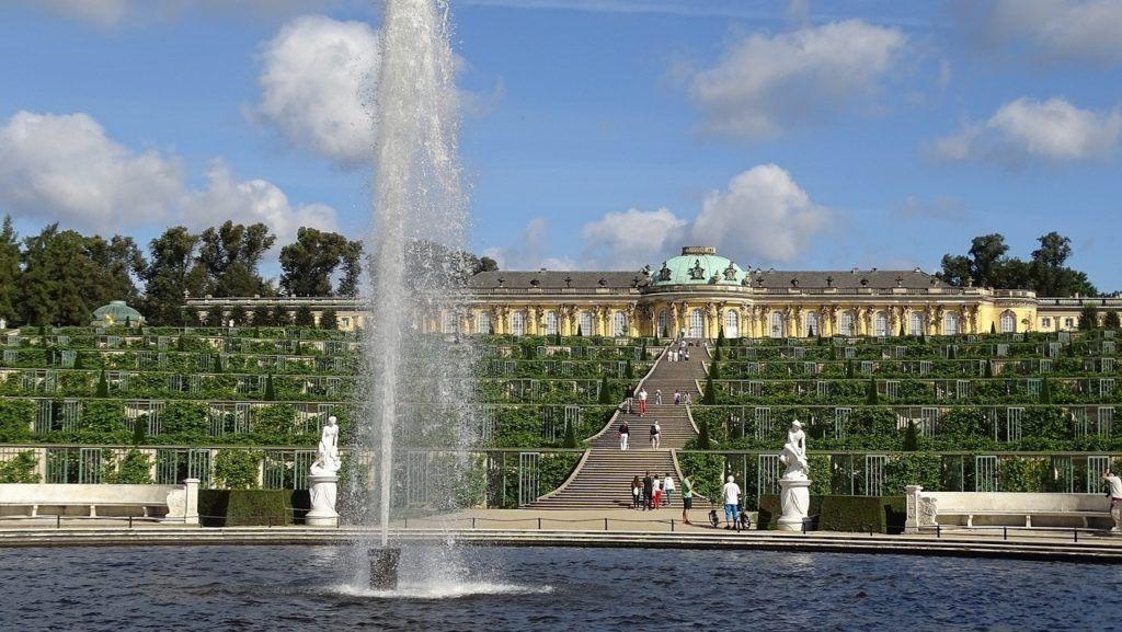 Sanssouci Summer Palace fountain in Postdam.