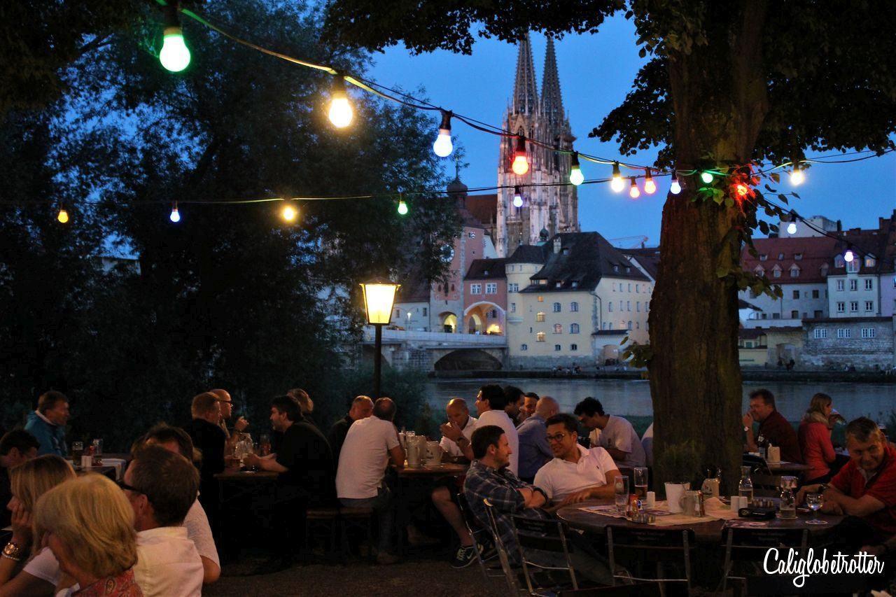Outdoor cafe on the riverside in Regensburg.