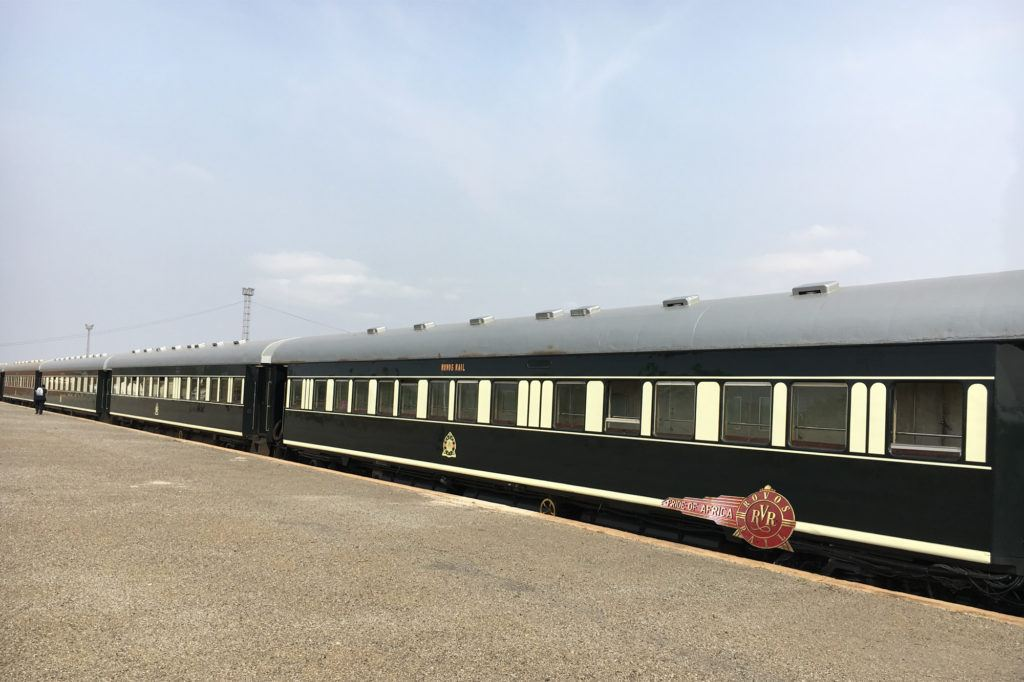 View of the Rovos Rail train in Zimbabwe where we stopped to get our visas.