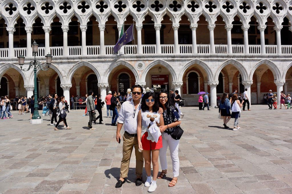 Brenda and family traveling in Italy.