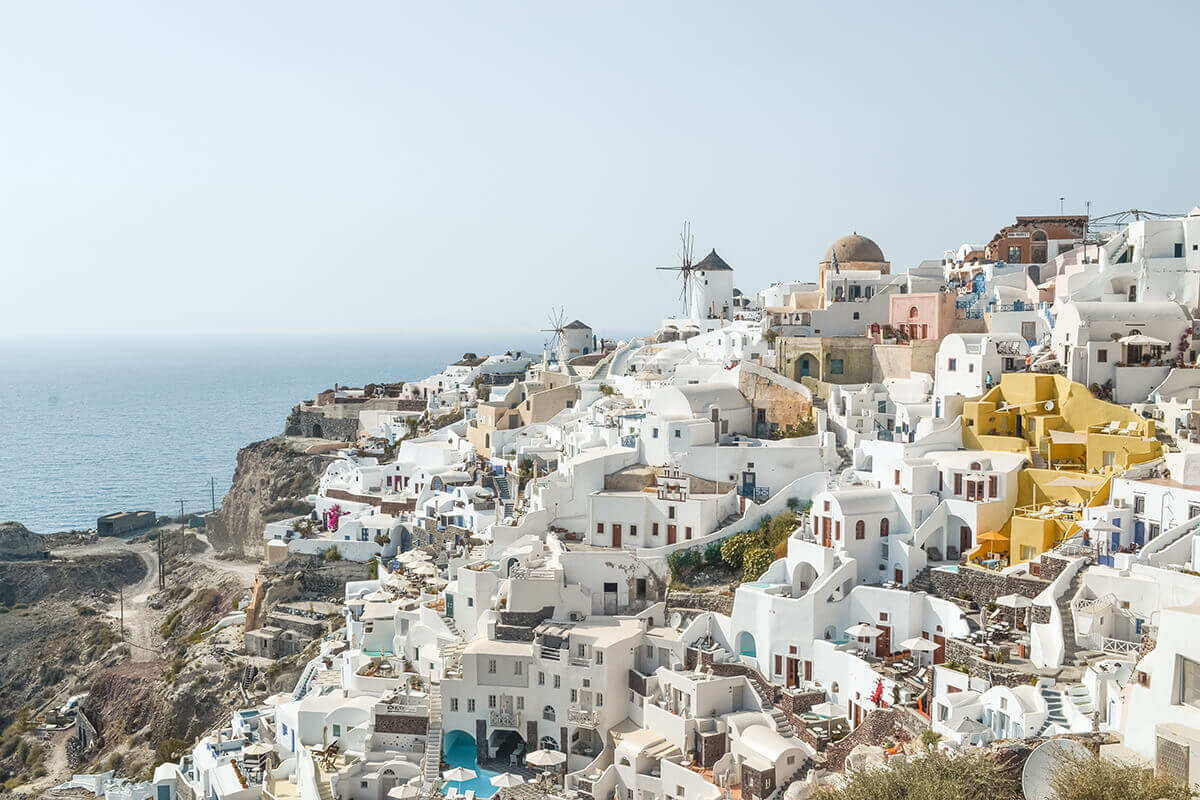 Santorini, Greece is a great place to visit in the fall.