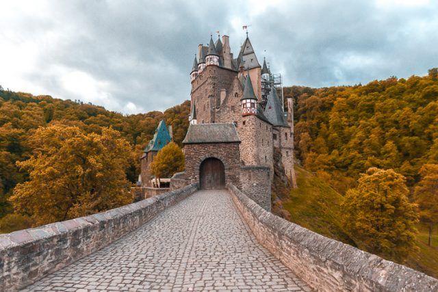 Burg Eltz with yellow trees.