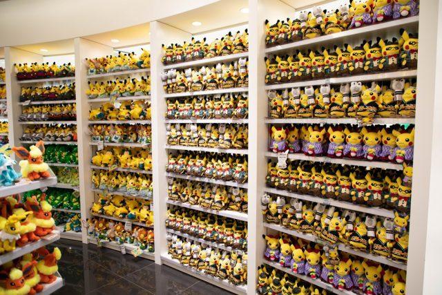 Shelves of plush toys for sale at the Pokemon Center.