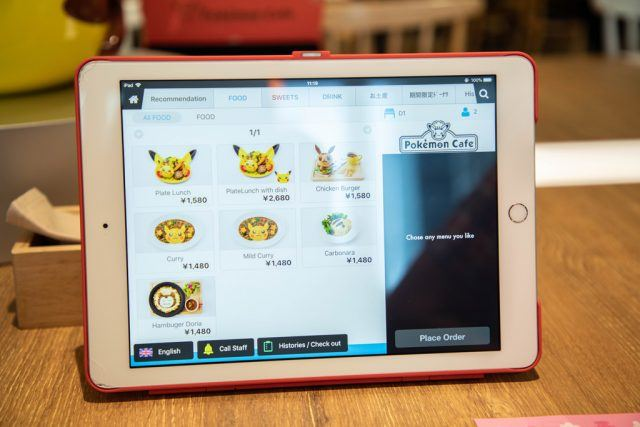 Pokemon Cafe Menu is easy to read in 3 languages.