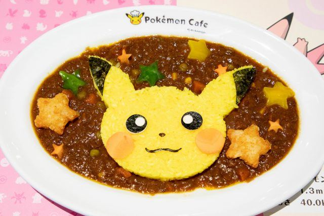 A dish of Japanese curry with a Pikachu face.