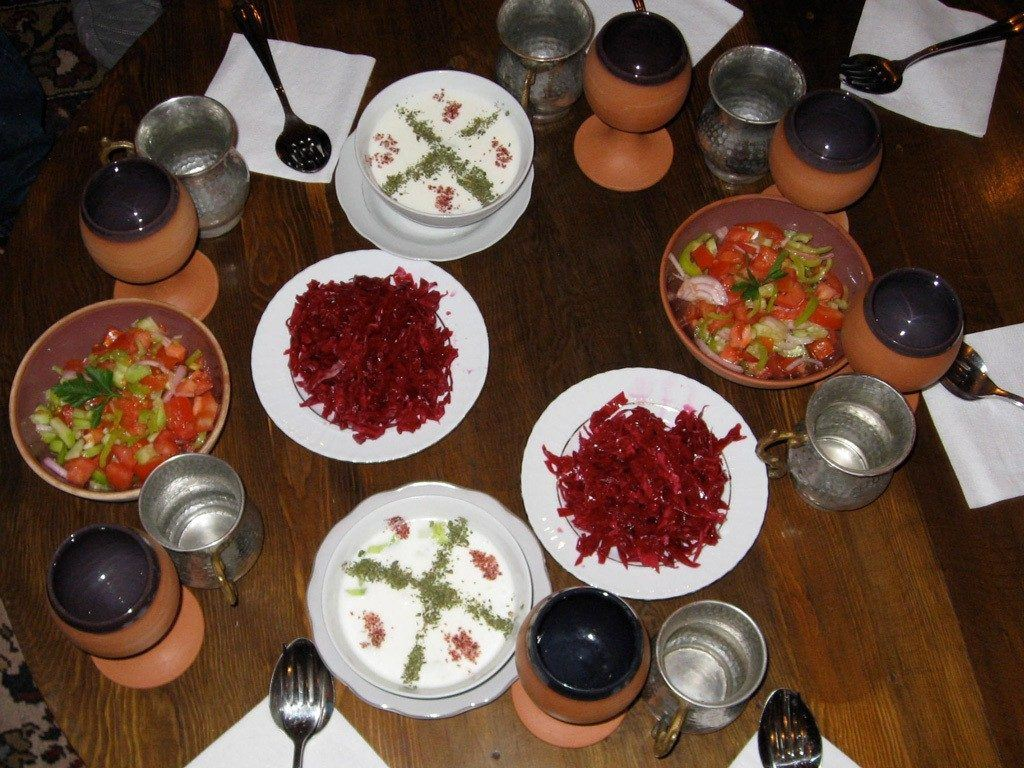Mezes are appetizers served before the main dish.