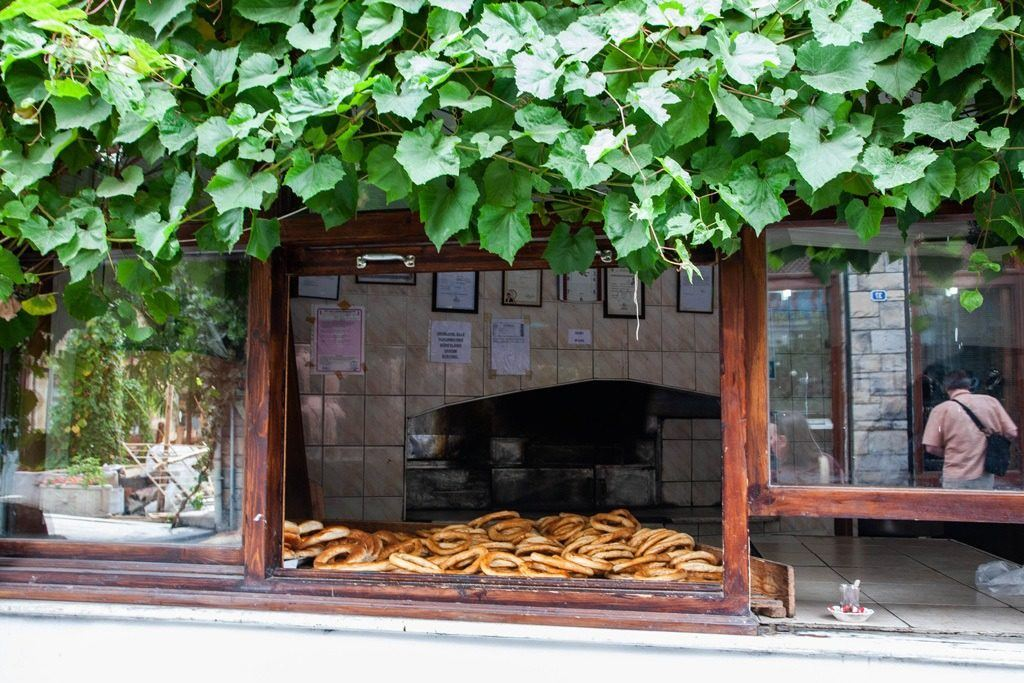 A bakery window where they are cooling their simit - one of the traditional foods in Turkey you must try.