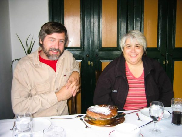World travelers Jim and Corinne Vail enjoy chocolate souffle in an Ankara restaurant.