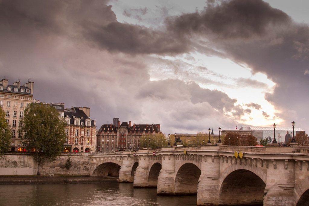 Bridge over Seine River at Sunset in Paris. France.