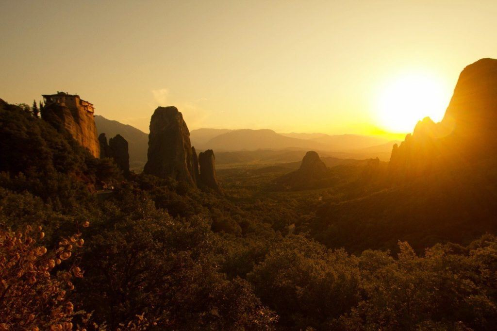 Sunset through the valley of Meteora, Greece.