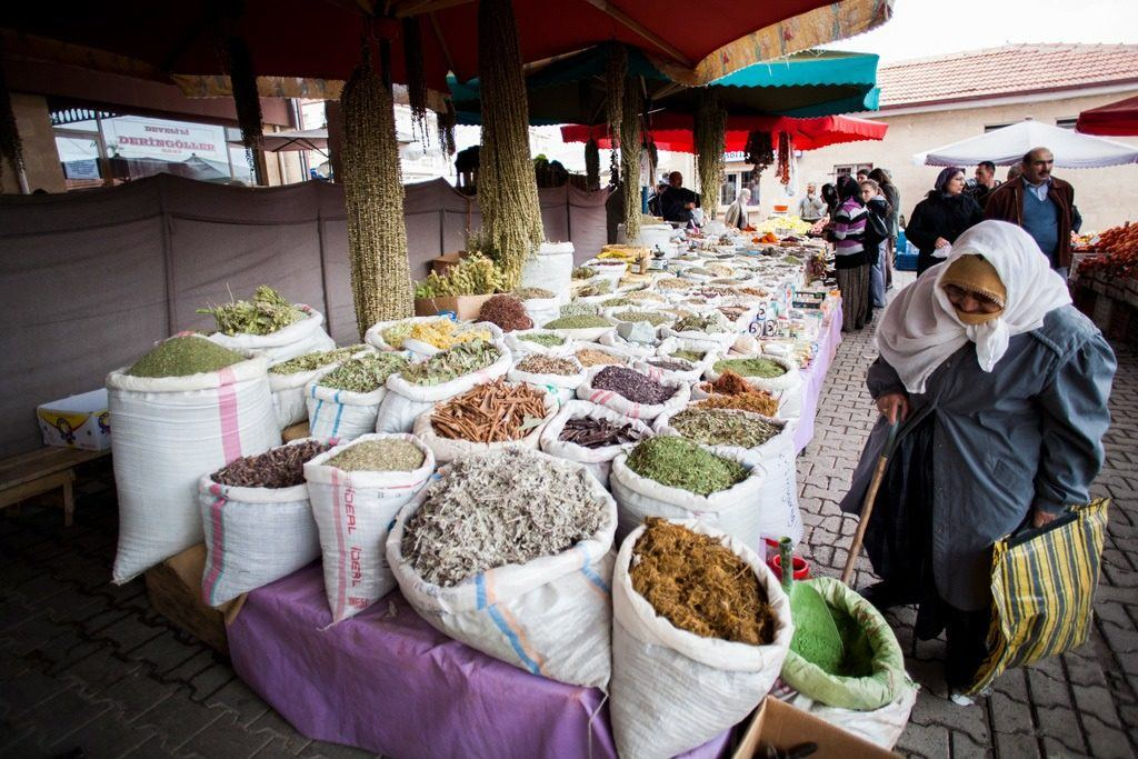 Turkey Travel Blog - Look for anything and everything at the weekend market. This lady is interested in the myriad of spices.