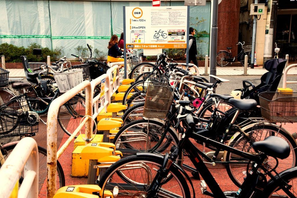 Pay to park you bike in this parking lot near Kamakura station.