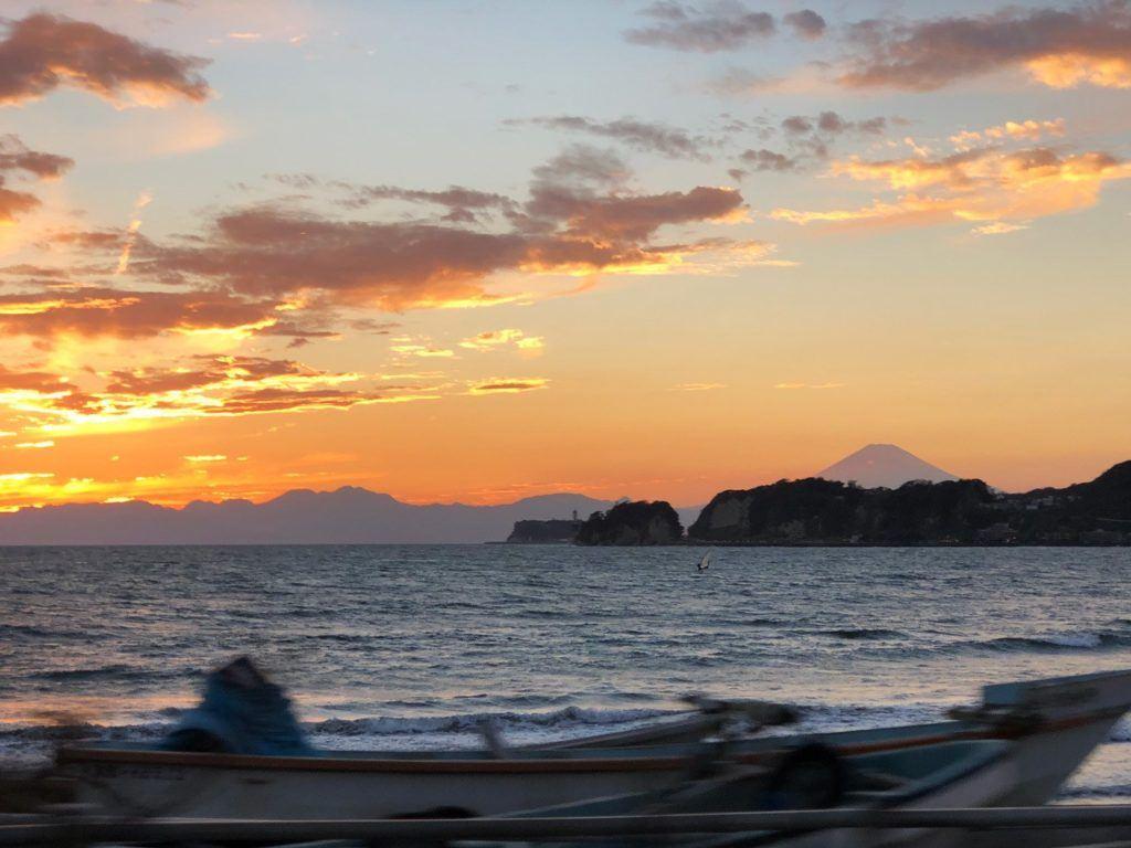 Winter sunset from the Kamakura Beach with Mt. Fuji.