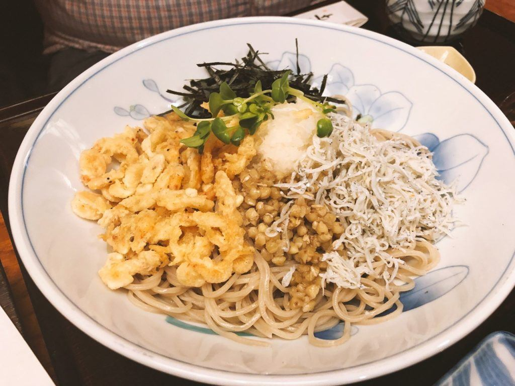 Whitebait is a Kamakura delicacy, here it is served with noodles.