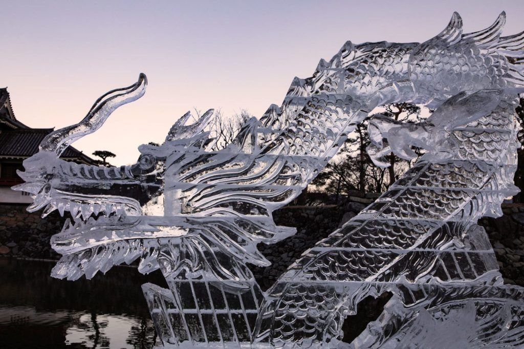 Dragon ice sculpture, Matsumoto Japan.