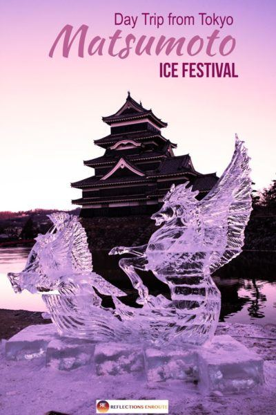 Matsumoto castle with Ice Sculpture.