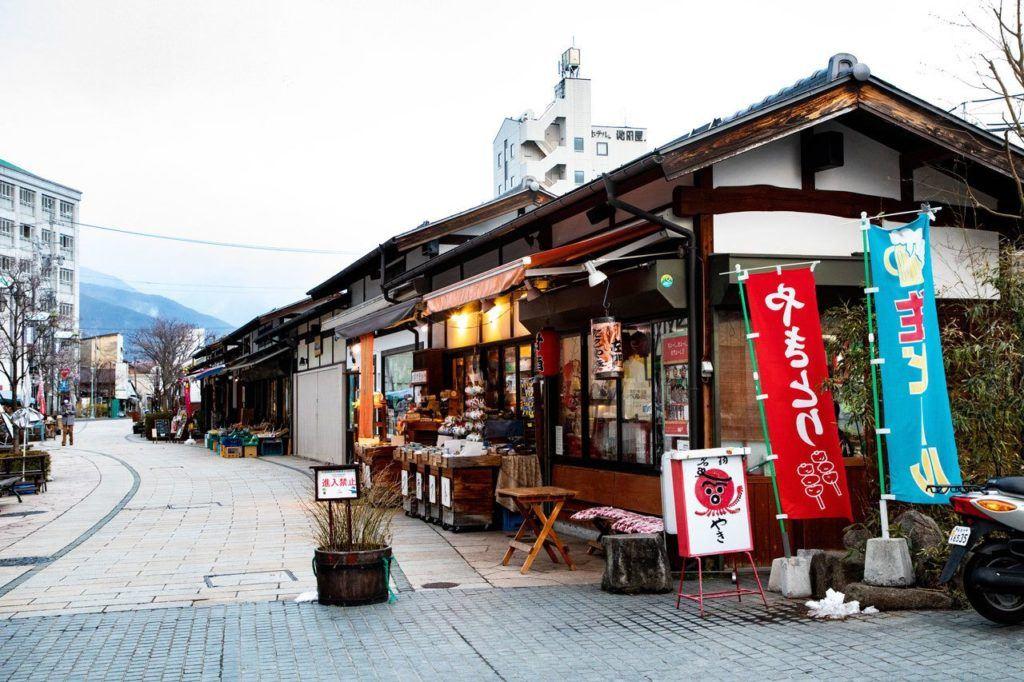 Colorful shops on Nakamichi Shopping Street.