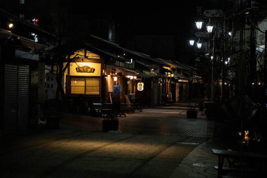 Night time view of the walking street in Matsumoto.