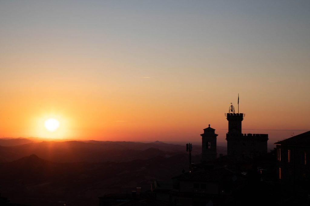 Sunset view from San Marino, castle and fortifications walls.