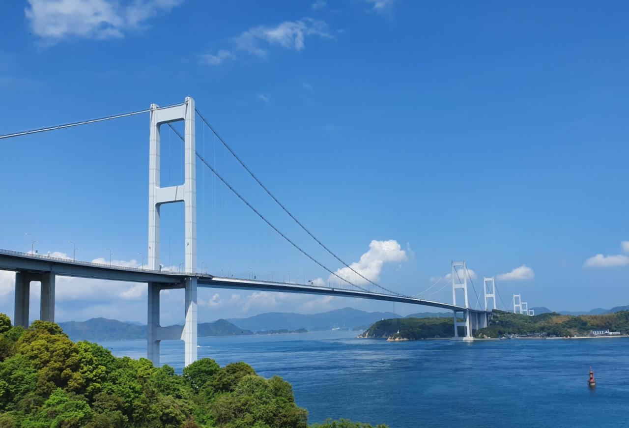 Springtime in Japan, the bridge to go over on the Shimanami Kaido Bike Ride.